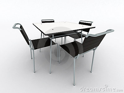 Black chairs and table