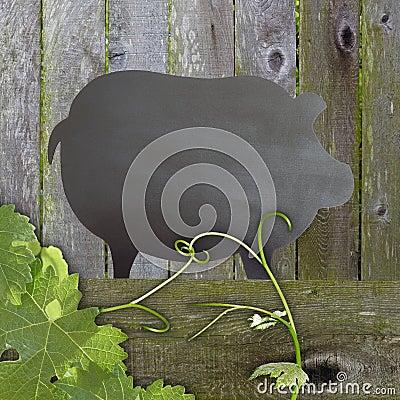 Black Chalkboard Pig Wood Backdrop