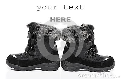 Black child s winter boots