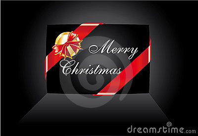 Black Christmas Card with Ribbon