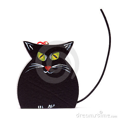 Black Christmas cat on white