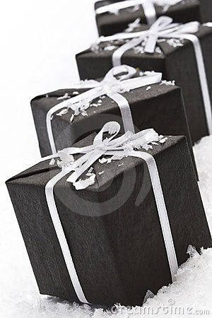 Black christmas gift box