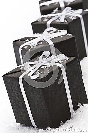 Black christmas gift box