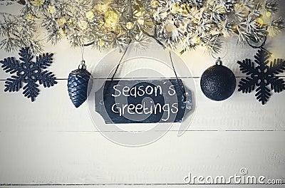 Black Christmas Plate, Fairy Light, Text Seasons Greetings Stock Photo