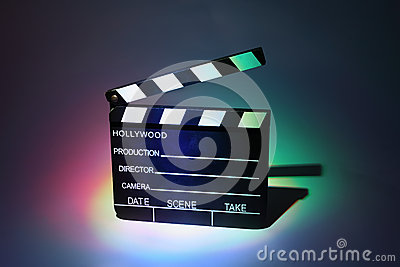 Black cinema clapperboard