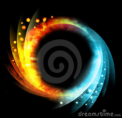 Black Circle Fire and Water Icon