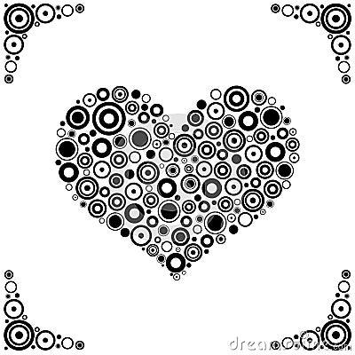 Black circles Heart Vector