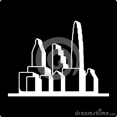 Black cities silhouette icon