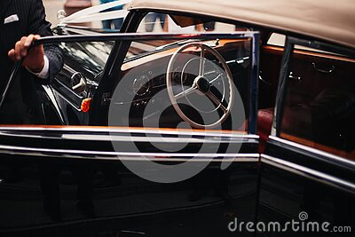 Black Classic Car Inside Well Lighted Room Free Public Domain Cc0 Image