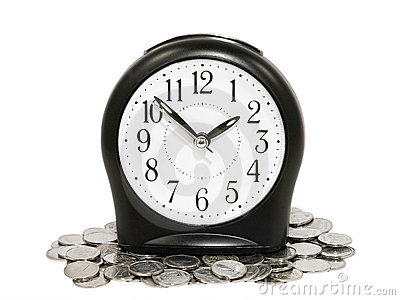 Black clock and coins.