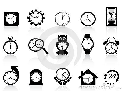 Black clock icon set