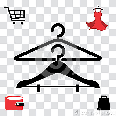 Black Clothes Hanger Icon Vector Illustration