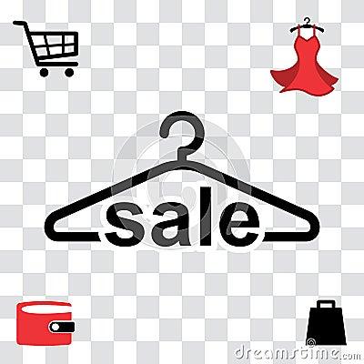 Black Clothes Hanger Icon Vector Illustration
