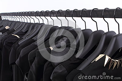 Black clothes on shelf