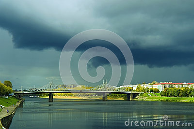 A black cloud over the river Volga Tver