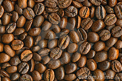 Black coffee beans background, high resolution