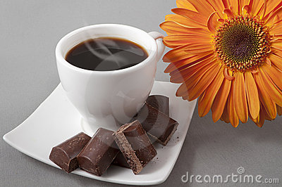 Black coffee and chocolate