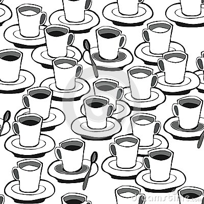 Black coffee white coffee seamless pattern