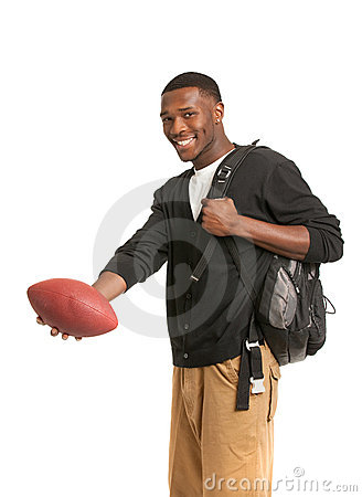 Black College Student Holding Football