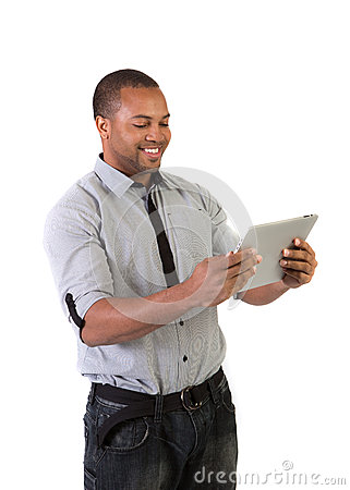Black College Student Holding Touch Pad