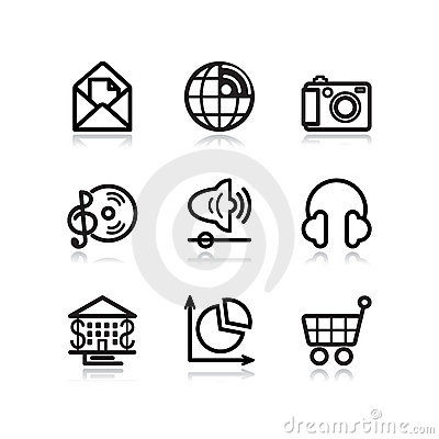 Black contour web icons, set 5 Editorial Photography