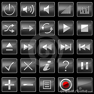 Black Control panel icons or buttons