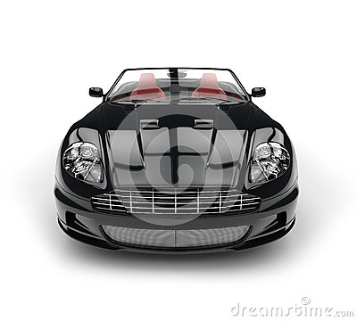 Free Black Convertible Sports Car - Front View Extreme Closeup Royalty Free Stock Images - 68690049