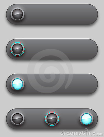 Black convex long button, off, selected and pushed