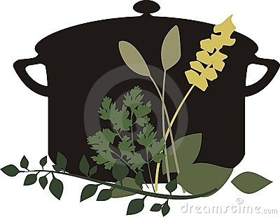 Black cooking soup or stew pot with herbs