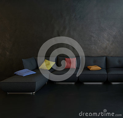 Free Black Couch Against Dark Wall Royalty Free Stock Images - 41127949