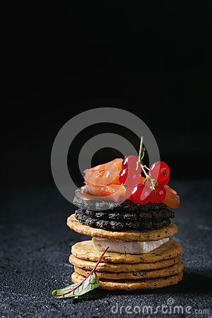 Free Black Crackers With Salmon And Berries Royalty Free Stock Photo - 93544745