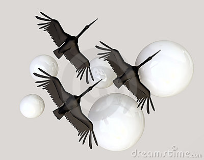 Black Crane Birds and White Spheres
