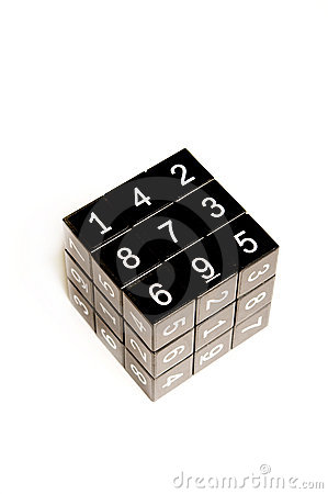 Black cube with numbers Editorial Stock Image