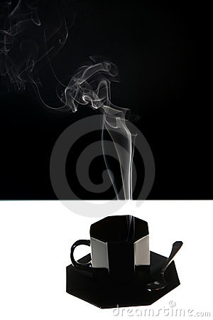 Black cup with fume