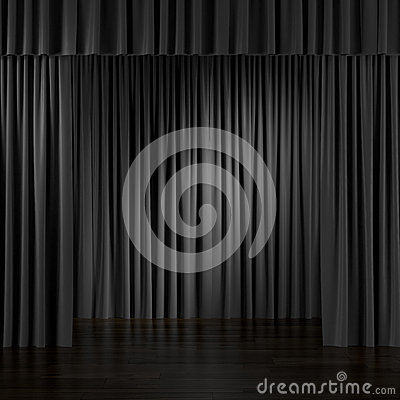 Black Curtains In Interior. Royalty Free Stock Images - Image ...