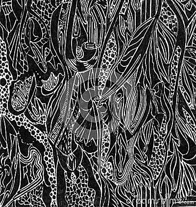 Black curved doodles