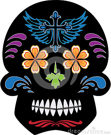 Black Day of the Dead Sugar Skull