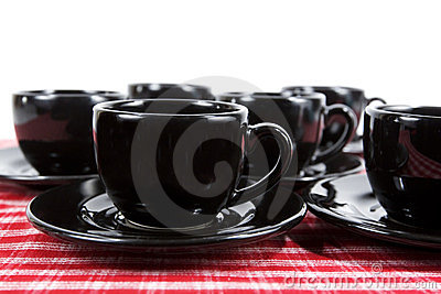 Black Demitasse Cups & Saucers