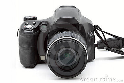Black digital camera on white isolation