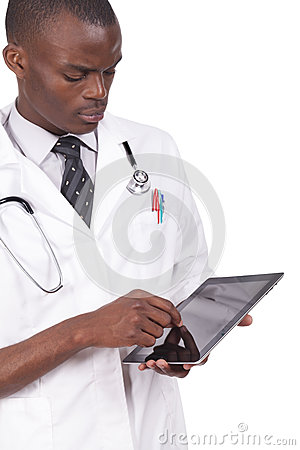Free Black Doctor Looking At Tablet Stock Image - 40201201