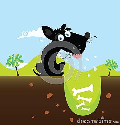 Black dog with bones