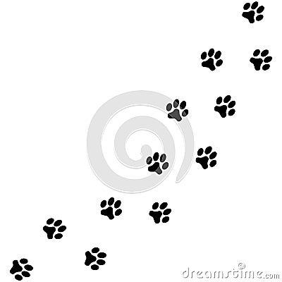 Dog paws traces Cartoon Illustration