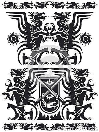 Free Black Dragon Set 01 Stock Images - 2348334