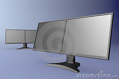 Black dual display monitor