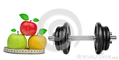 Black dumbbell with apples