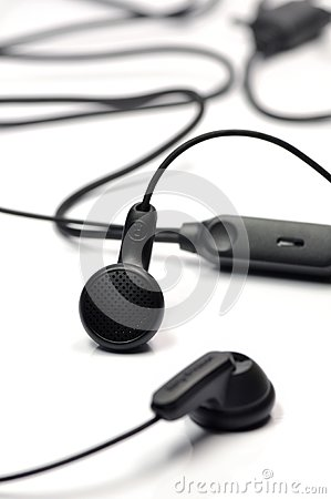 Black earphone.