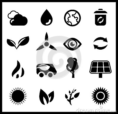 Black ecology icons | vector icon set