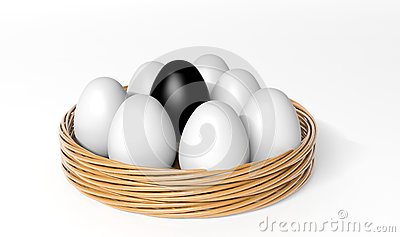 Black egg among white eggs