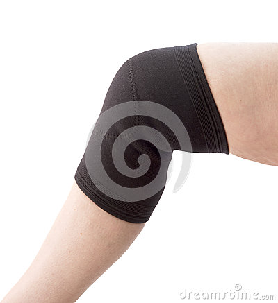 Female senior with knee support
