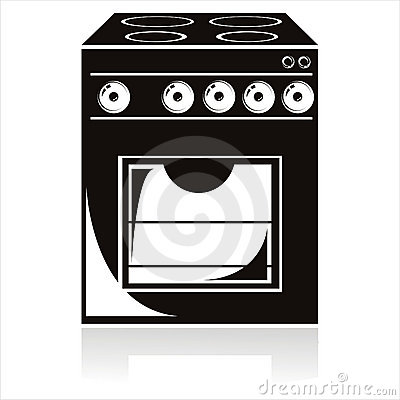 Black electric cooker icon